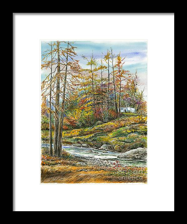 Waterscape Framed Print featuring the painting Brook In Autumn by Samuel Showman