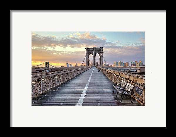 Horizontal Framed Print featuring the photograph Brooklyn Bridge At Sunrise by Anne Strickland Fine Art Photography