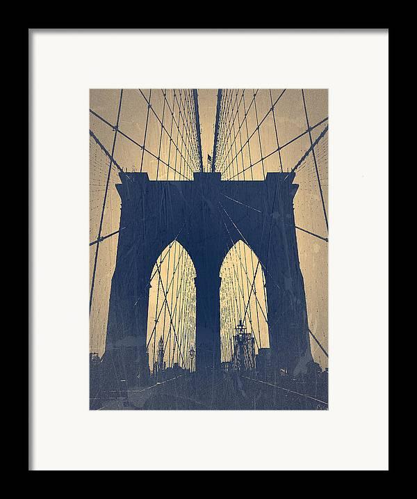 Brooklyn Bridge Framed Print featuring the photograph Brooklyn Bridge Blue by Naxart Studio
