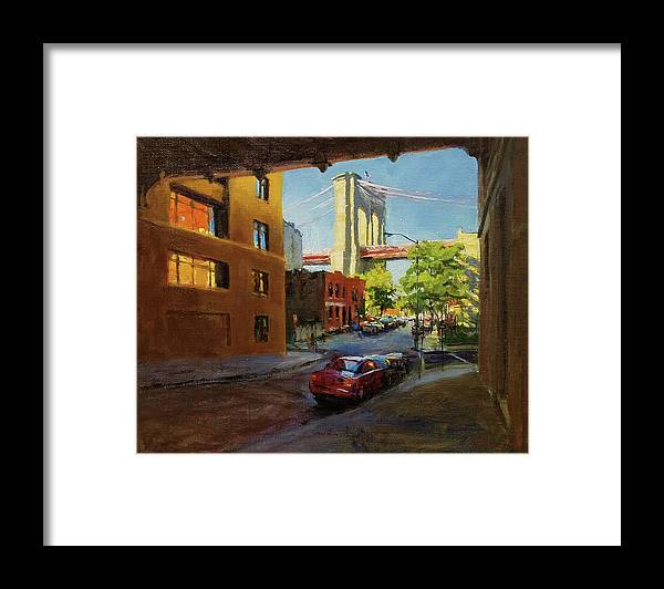 Landscape Framed Print featuring the painting Brooklyn Bridge From Everit Street by Peter Salwen
