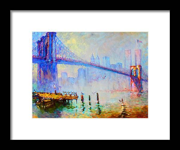 Brooklyn Bridge Framed Print featuring the painting Brooklyn Bridge In A Foggy Morning by Ylli Haruni