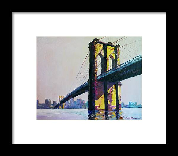 Brooklyn Bridge Framed Print featuring the painting Brooklyn Bridge, N Y by Eduard Zenuni