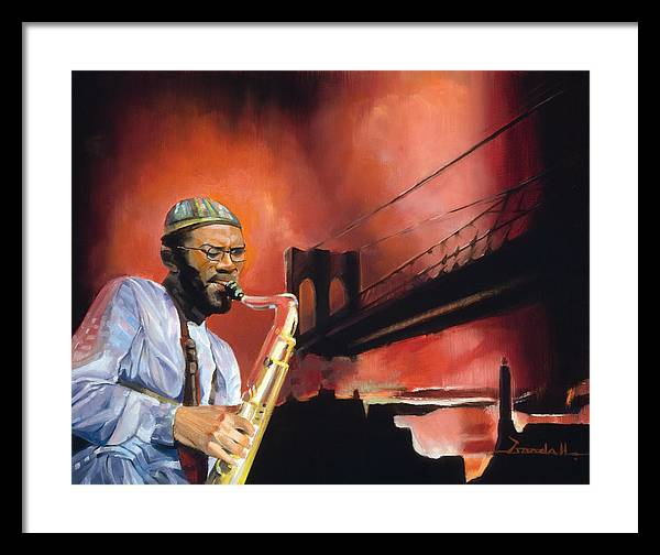 Jazz Framed Print featuring the painting Brooklyn Bridge Sax by Lee Goodall
