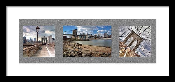 Brooklyn Framed Print featuring the photograph Brooklyn Bridge...triptych by Arkadiy Bogatyryov