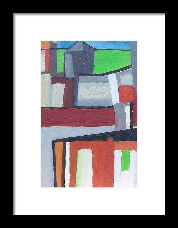 Cityscape Framed Print featuring the painting Brooklyn Roofs by Ron Erickson