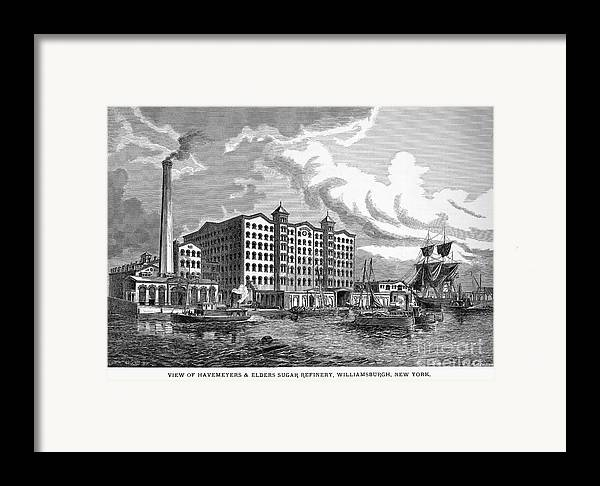 1876 Framed Print featuring the photograph Brooklyn: Sugar Refinery by Granger