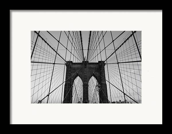 Brooklyn Bridge Framed Print featuring the photograph Brooklyn's Web by Joshua Francia