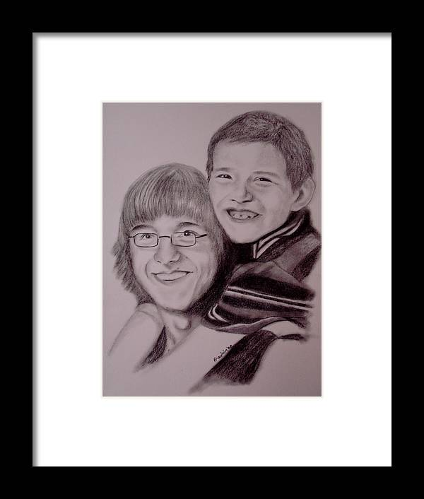 Portrait Framed Print featuring the drawing Brothers For Life by Glory Fraulein Wolfe