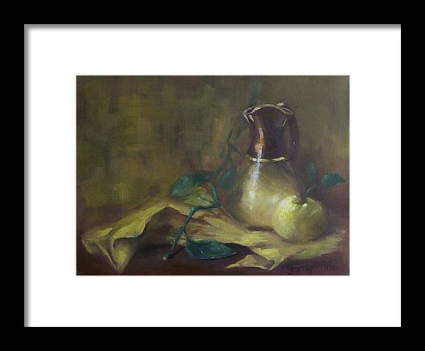 Oil Paints Framed Print featuring the painting Brown And Gold Vase With Apple by Tom Forgione