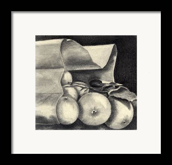 Still Life Framed Print featuring the drawing Brown Bag by Penny Everhart