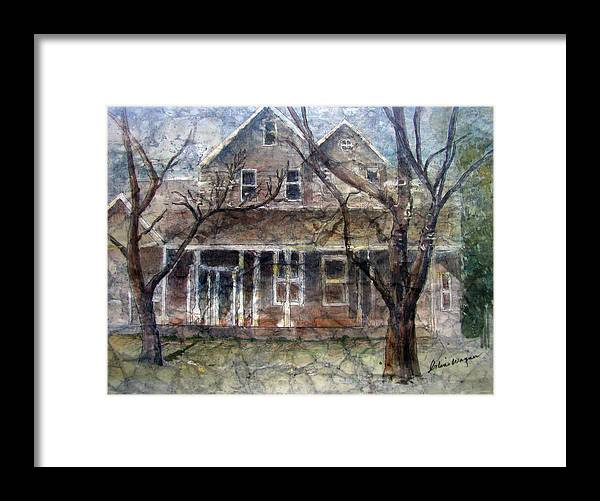 House Framed Print featuring the mixed media Brown Batik House by Arline Wagner