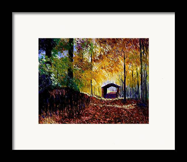 Ridge Framed Print featuring the painting Brown County Covered Bridge by Stan Hamilton