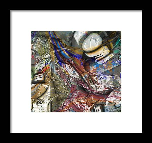 Abstract Brown Blue Framed Print featuring the digital art Brown by Dave Kwinter