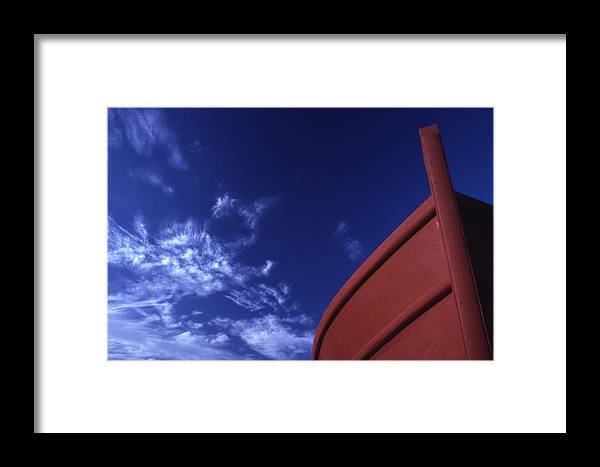 Brown; Boat; Blue; Sky; Crete; Cretan; Cultural; Customs; Destinations; Europe; European; Eu; Fishin Framed Print featuring the photograph Brown Fishing Boat by Steve Outram