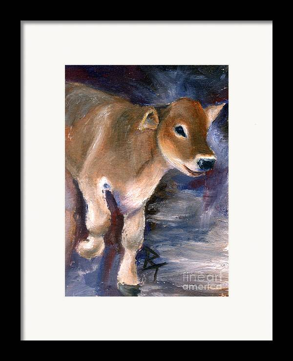 Cow Framed Print featuring the painting Brown Swiss Calf Aceo by Brenda Thour