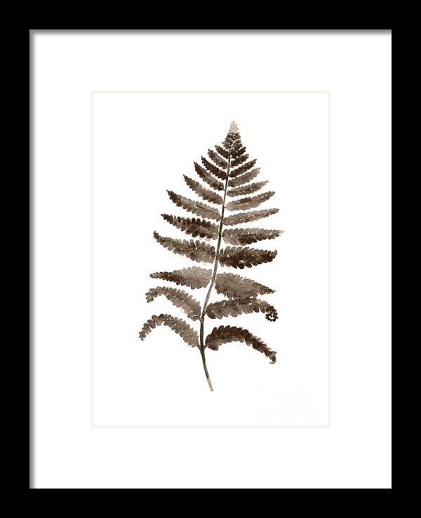 Painting Framed Print featuring the painting Fern Leaf Botanical Poster, Brown Wall Decor Modern Home Art Print, Abstract Watercolor Painting by Joanna Szmerdt
