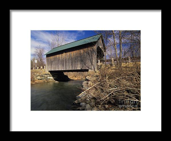 Bridge Framed Print featuring the photograph Brownsville Covered Bridge - Brownsville Vermont by Erin Paul Donovan