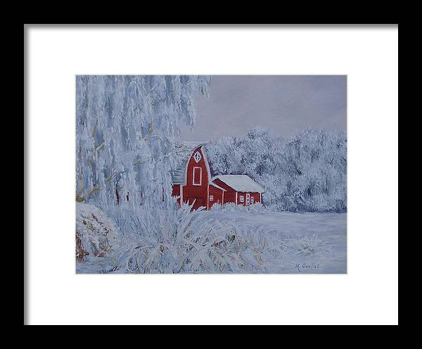 Landscape Framed Print featuring the painting Brr by Maxine Ouellet