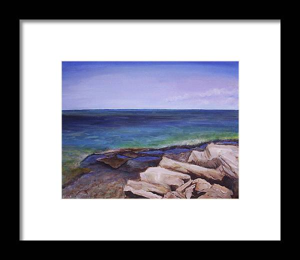 Seascape Framed Print featuring the painting Bruce Peninsula by Silvia Philippsohn