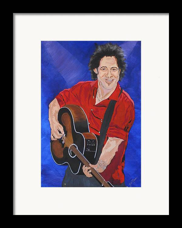 Brice Springsteen Paintings Framed Print featuring the painting Bruce Springsteen-an American Boy by Bill Manson