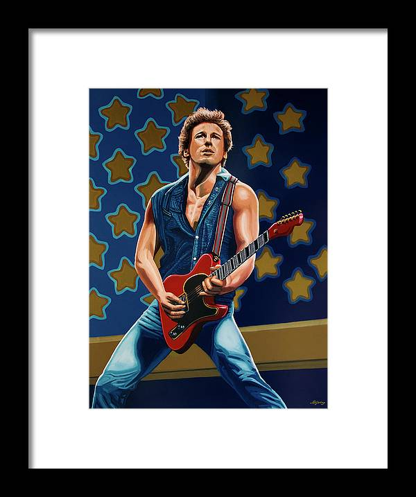 Bruce Springsteen Framed Print featuring the painting Bruce Springsteen The Boss Painting by Paul Meijering
