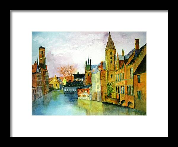 Watercolor Framed Print featuring the painting Brugge Belgium Canal by Larry Hamilton