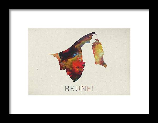 Brunei Framed Print featuring the mixed media Brunei Watercolor Map by Design Turnpike