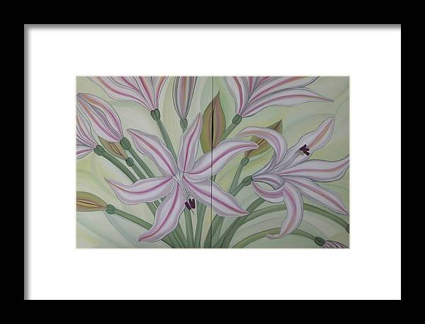 Marinella Owens Framed Print featuring the painting Brunsvigia Grandiflora by Marinella Owens