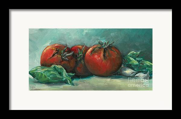 Tomatoes Framed Print featuring the painting Bruscetta by Linda Vespasian