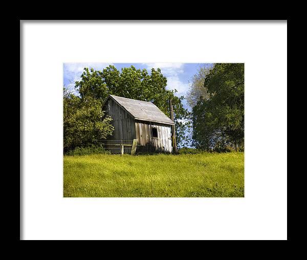 Landscape Framed Print featuring the photograph Brushy Peak Cabin by Karen W Meyer