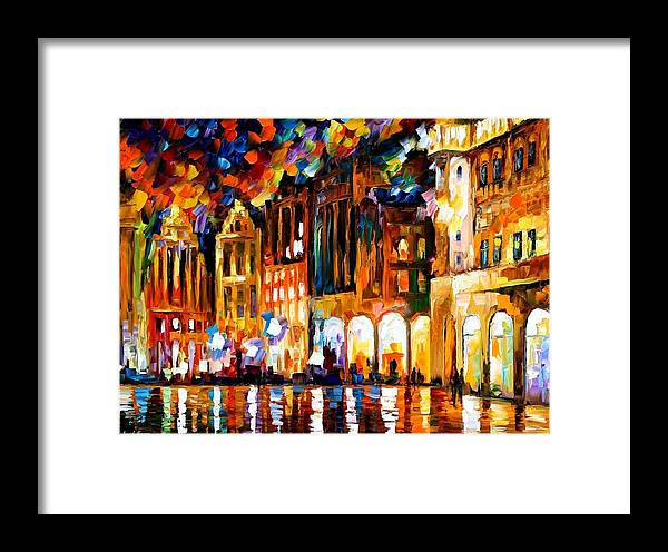 Afremov Framed Print featuring the painting Brussels by Leonid Afremov