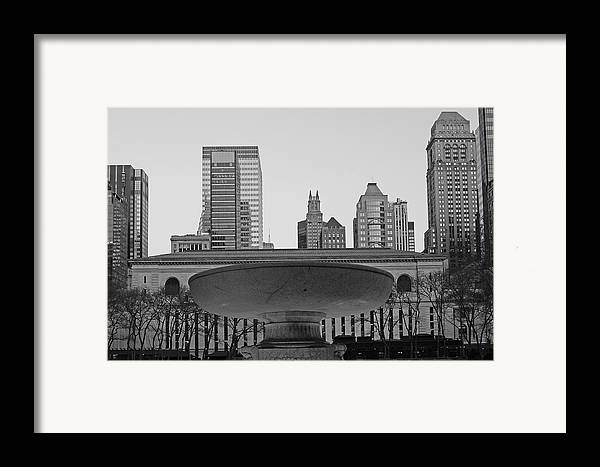 Bryant Park And Public Library Framed Print featuring the photograph Bryant Park by Christian Heeb