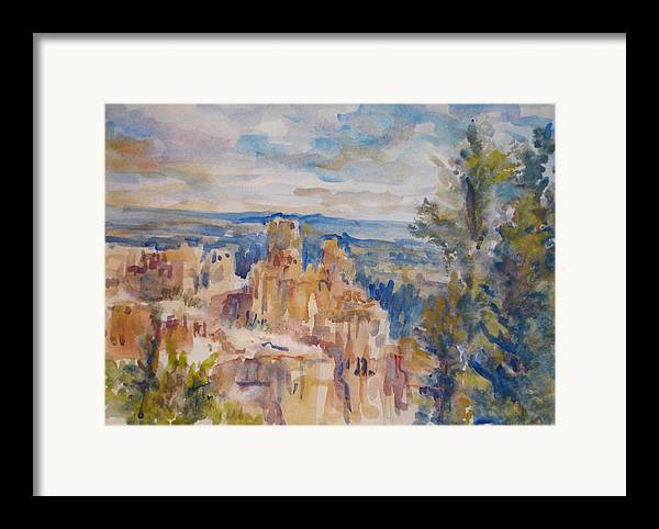 Landscape Framed Print featuring the painting Bryce Canyon by Joyce Kanyuk