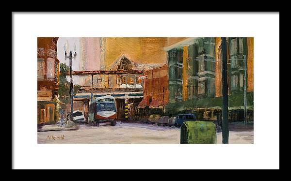 Bus Framed Print featuring the painting Bryn Mawr Edgewater El Stop by Nancy Albrecht