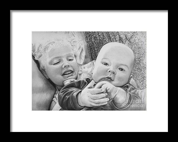 Babies Framed Print featuring the drawing Brynn And Austin by Carliss Mora