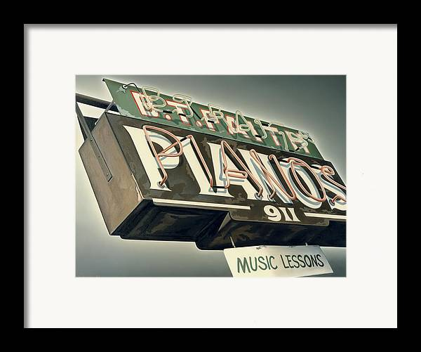 Sign Framed Print featuring the painting B.t.faith Pianos by Van Cordle
