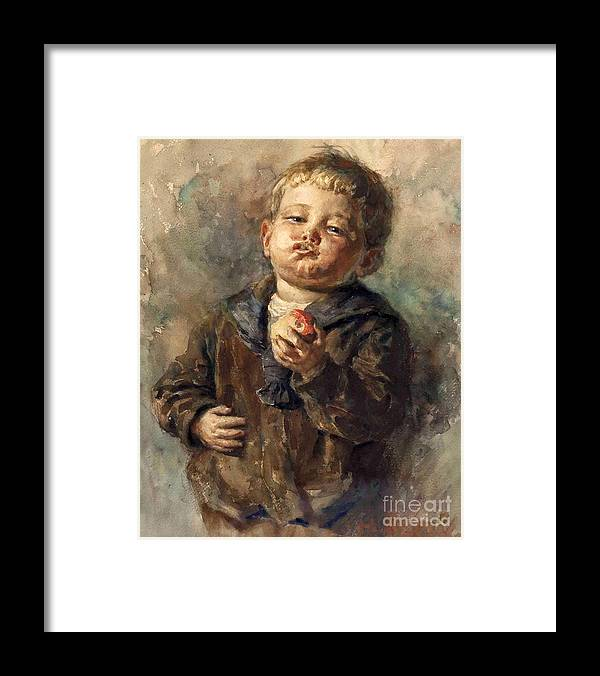 Rettig Framed Print featuring the painting Bub Mit Apfel In Der Hand by MotionAge Designs