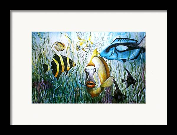 Fish Framed Print featuring the print Bubba Fish And Friends by JoLyn Holladay