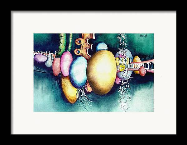 Frog Framed Print featuring the painting Bubble Frog by Sam Sidders