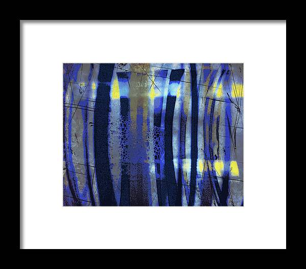 Bubble Lines Abstract Digital Image Susan Epps Oliver Original Blue Abstract Lines Fun Contemporary Framed Print featuring the mixed media Bubble Lines by Susan Epps Oliver