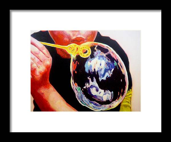 Bubble Framed Print featuring the painting Bubble by Lizzie Johnson