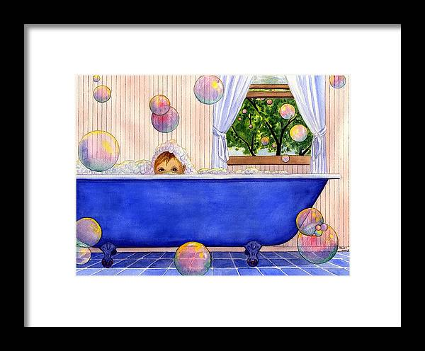 Bath Framed Print featuring the painting Bubbles by Catherine G McElroy