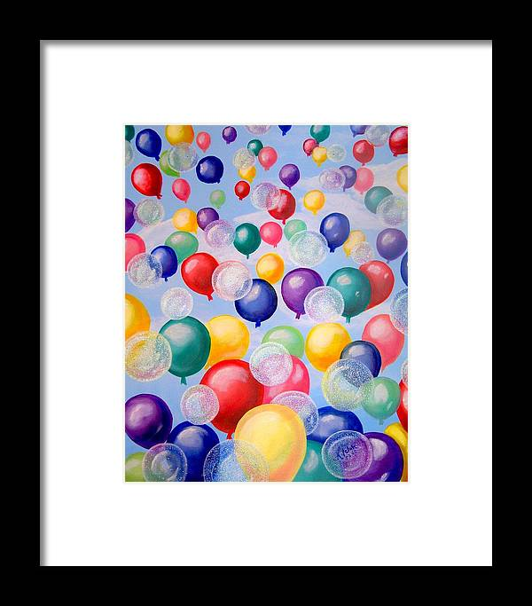 Balloons Framed Print featuring the painting Bubbling Balloons by Kathern Welsh
