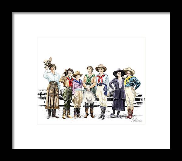 Cowgirl Framed Print featuring the painting Buckin Horse Suffragettes by Shirley Morris