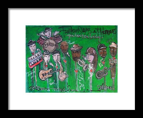 Buckner Funken Jazz Framed Print featuring the painting Buckner Funken Jazz by Laurie Maves ART