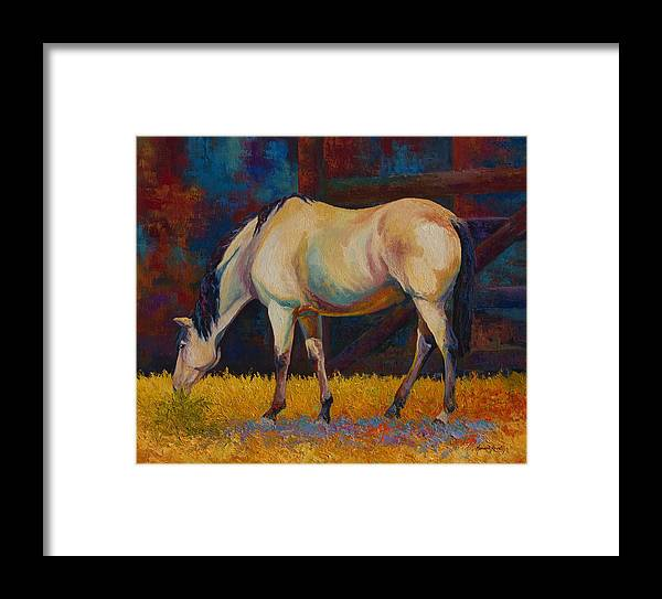Horses Framed Print featuring the painting Buckskin by Marion Rose