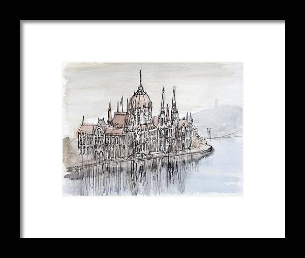 Reflections Framed Print featuring the painting Budapest Parliament by Kate Loveridge