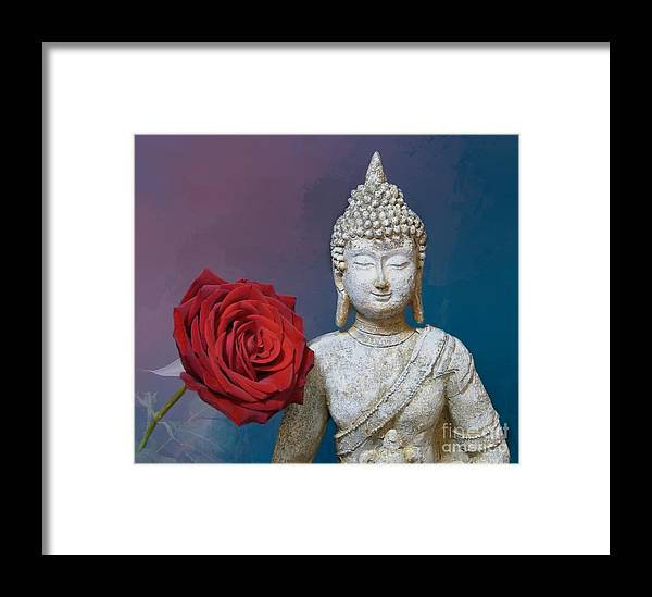 Buddha Framed Print featuring the photograph Buddha And Rose by Pete Trenholm