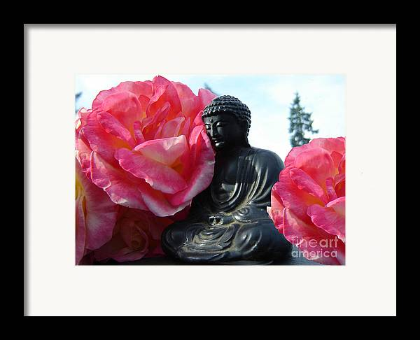 Buddha Framed Print featuring the photograph Buddha And Roses by Eric Singleton