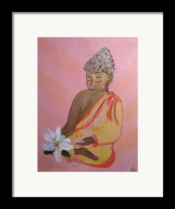 Buddha Framed Print featuring the painting Buddha And The Lotus Blossom by Michela Akers
